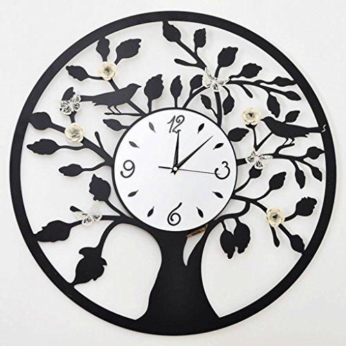 ZLR Mute De Mode Horloge Murale Ronde Salon Mode Horloge Murale Horloge Mute Fleur Butterfly