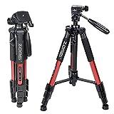 ZOMEIQ111 Trépied professionnel pour appareil photo et camera avec un sac de transport. Compatible Canon, Nikon et Sony(ROUGE)