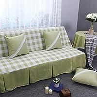 Preisvergleich für DW&HX Karierte sofabezug,1,2,3,4 sitze Perfekt für kinder und haustiere Anti-rutsch Einfachen und modernen Sofa protector-Grün 190x260cm(75x102inch)