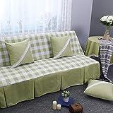 DW&HX Karierte sofabezug,1,2,3,4 sitze Perfekt für kinder und haustiere Anti-rutsch Einfachen und modernen Sofa protector-Grün 190x240cm(75x94inch)
