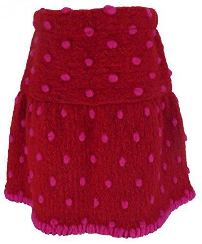 Trocadero Winter Rock Mädchen knielang Wolle gefilzt in Rot handgemacht Gr.134
