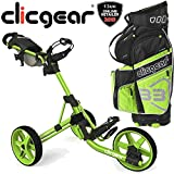 """NEW 2015"" CLICGEAR 3.5 TROLLEY & B3 CART BAG MULTIBUY DEAL BRIGHT LIME / BLACK"