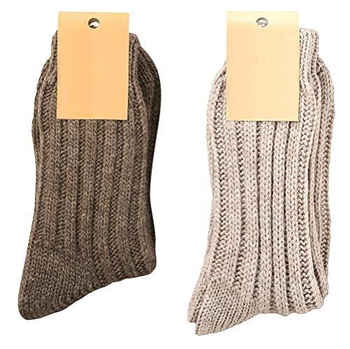 krautwear 2 Paar Weiche Wollsocken mit Alpaka für Damen und Herren Warme Socken Wintersocken bis Größe 50 (braun+grau-39-42) - Herren Alpaka