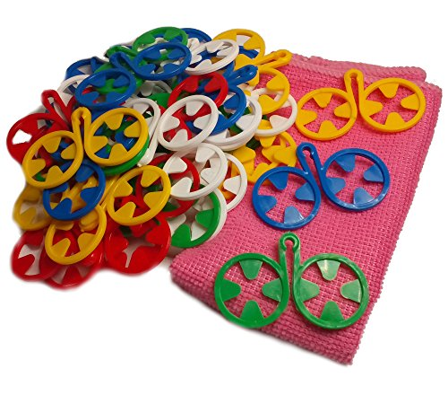Multi-packs Socken (DZUJO, Socken Clips, Sockenhalter, Sockensortierer, Family Pack 40 Stück, 5 Farben, FREE GIFT - praktisches Mikrofasertuch.)