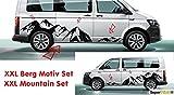 SUPERSTICKI VW Bus T5 T6 XXL Berge Mountain Panorama Motiv Seitenstreifen Aufkleber Dekor Viperstreifen Viper Streifen Racing Stripes Rennstreifen Aufkleber Sticker Tuning Autoaufkleber