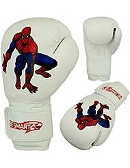 BeSmart - Guantes de boxeo para niños, 113-170 g, hombre mujer Infantil, color blanco, tamaño 4 Oz