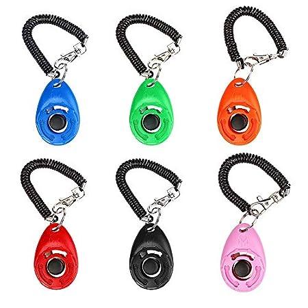 Mgrett Hunde Clicker, 6 Stück Klicker, 6 Farben Training Klicker mit Spiralarmband, Profi Clicker für Hunde, Katzen…