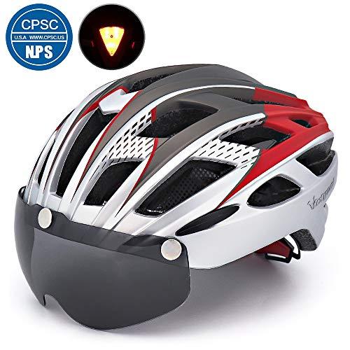 Victgoal Fahrradhelm Herren Damen Erwachsene Fahrrad Zyklus Helm Magnetischer Visier-Schutzbrille mit LED-Rücklicht 57-61 cm (Silver)