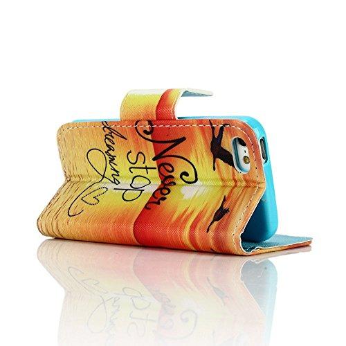 SainCat iPhone 5 / 5S / SE Custodia,Creative Disegno Stampa Libro Stile PU Leather Flip Chiusura Magnetica Protettiva Portafoglio Wallet in Pelle Stand Cover Case Con Funzione di Supporto e Morbido TP Sognare