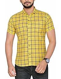 PP Shirts Men Yellow Coloured Checkered Shirt (PP1217103)