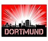 Dsign24 EG4503000051 HD Glas-/Wand bild, Skyline Dortmund Sunrise, 50 x 30 cm, rot