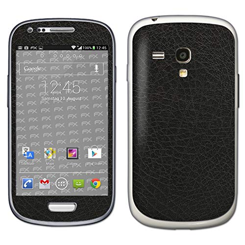 bel mit Samsung Galaxy S3 Mini GT-i8190, Designfolie Sticker (FX-Leather-Black), Feine Leder-Struktur ()