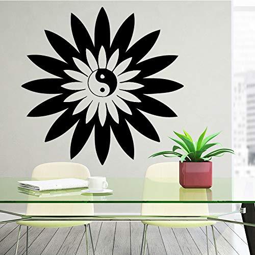supmsds Wandtattoo Chinesischen Stil Vinyl Wandaufkleber Tai Chi Philosophie Butter Blume Schlafzimmer Wohnzimmer Haus Dekoration Dekor L 43 cm X 41 cm