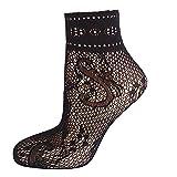 EU 35-41 Soumit Calze Corta a Rete Calzini a Rete Corta di Moda con Fiocco per Donna 4 Paia Calza Corta a Rete alla Caviglia in Seta Tussah