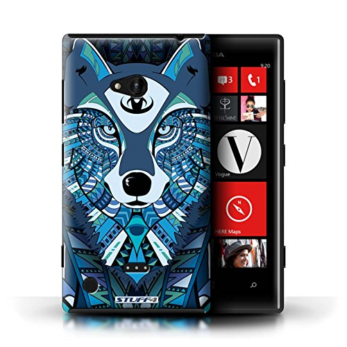 Kobalt® Imprimé Etui / Coque pour Nokia Lumia 720 / Hibou-Mono conception / Série Motif Animaux Aztec Loup-Bleu