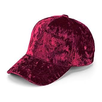 ec70e3080724e JOOWEN Unisex Crushed Velvet Basketball Hat Adjustable Soft Shining Cap -  Red -
