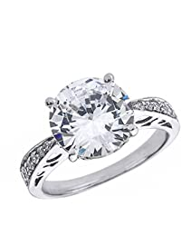 14ct White Gold 6.0 ct Cubic Zirconia Solitaire Engagement Ring