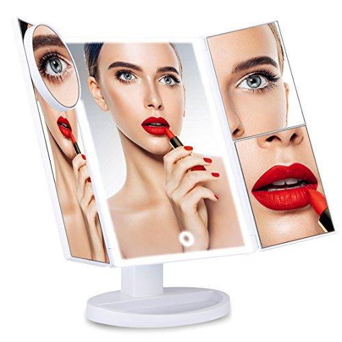 Große Doppel-tür (Tobbiheim LED Kosmetikspiegel Dimmbar mit 10x / 3x / 2x / 1x Vergrößerung, Schminkspiegel LED Beleuchtet Batteriebetrieben Stand Doppel Tür 180°Drehbare Rotation Badspiegel – Weiß)