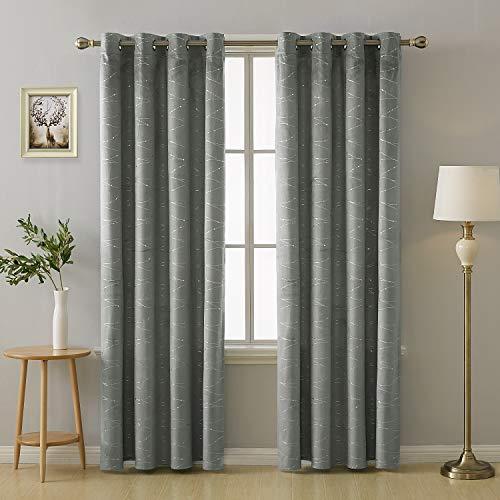 Deconovo Muster Gardinen Vorhänge mit Ösen Wohnzimmer 290x140 cm Hellgrau 2er Set
