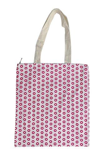 Nuni Damen Einkaufstasche mit Punktemuster, Baumwollleinen, Pink, Pink (Zip Closure), Medium -