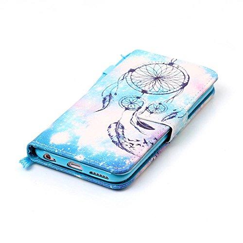 Cuir Portefeuille Coque pour Apple iphone 6 6S 4.7 Bleu, Élégant iPhone 6S étui Rabat Style, iPhone 6 Case, Joli Image Peinture - Windbell Bleu