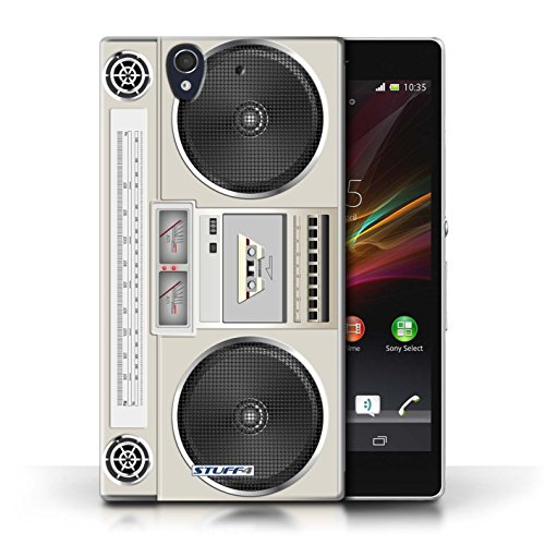 Kobalt® Imprimé Etui / Coque pour Sony Xperia Z / Compact Cassette Audio conception / Série Retro Tech Boombox