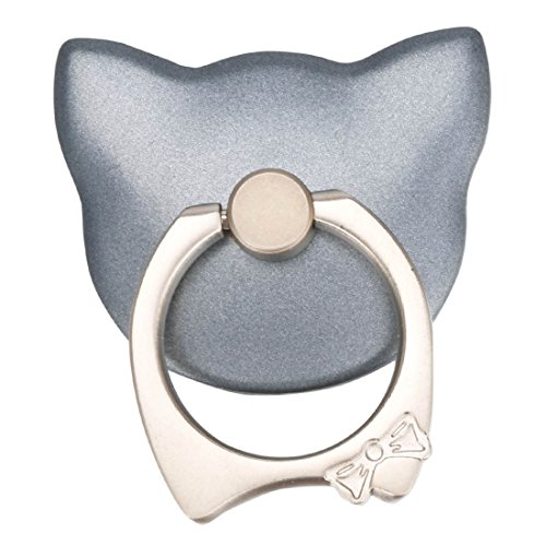 Tiaobug Universal Aufkleber Ring Standplatz Handy Halter 360 Grad Drehbar Metall Smartphone Griff Ring Finger Grip Handy Ständer Halter Halterung Grau Katze One Size