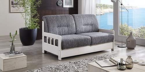 schlafsofa campus grau wei stoff sofa couch massiv holz schlafcouch bettfunktion m. Black Bedroom Furniture Sets. Home Design Ideas
