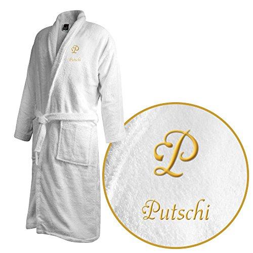 Bademantel mit Namen Putschi bestickt - Initialien und Name als Monogramm-Stick - Größe wählen White