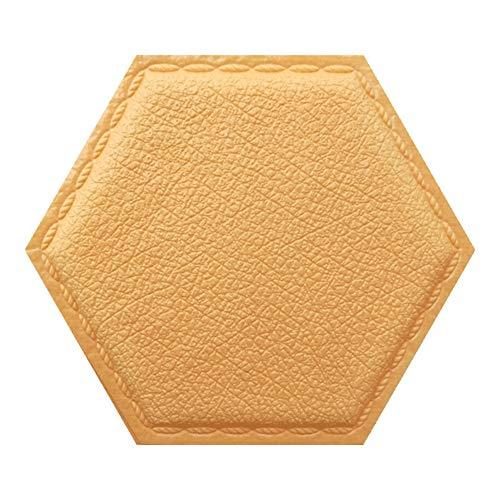 HX stickers 3D Auto-adhésif Hexagon Autocollants, Panneaux Surface de la Peau d'Orange Tuiles Papier Peint pour Cuisine Salle de Bain-Jaune Clair-B