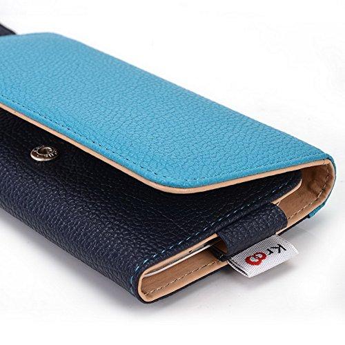 Kroo Pochette Téléphone universel Femme Portefeuille en cuir PU avec sangle poignet pour Icemobile Prime 5.0/4.0Gravité Multicolore - Blue and Red Bleu - bleu