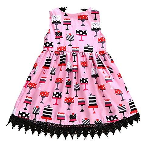 Kinder ärmelloses Kleid Prinzessin V-Ausschnitt zurück Kleid Weingläser Druck Rock Party Kostüm...