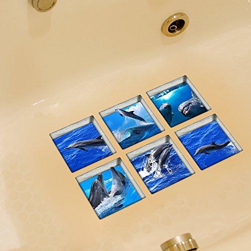 Weare Home Delphin und Ozean Muster Serie von 6 Stück Deko Design Kreativ Anti Rutsch Sticker für Sicherheit Kinder für Badewanne, je Stück 14.5×14.5cm