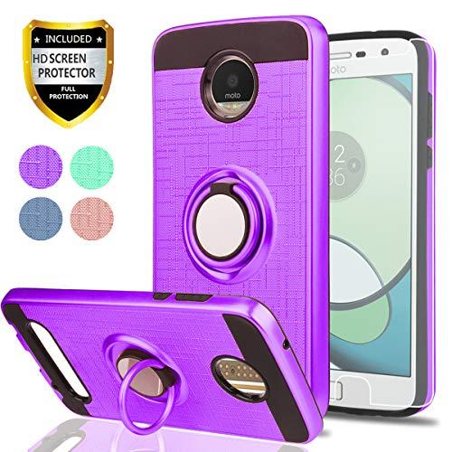 Coque Moto Z2 Play Etui avec Protecteur d'écran HD, bague tournante et support Athchu 360 degrés Coque arrière résistante à double couche pour Motorola Moto Z Play Coque (2nd Gen) - ZH Violet