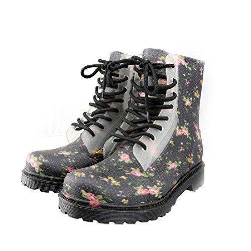 Ms. moda stivali di gomma slittata indossare stivali di gomma Black