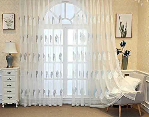 BW0057 Vorhang mit Stickereien, für Wohnzimmer, Wohnzimmer, Dekoration, Drape-Panel (1 Paneel B 50 x L 204,Zoll), Polyester-Mischgewebe, weiß, 50 * 95 Inch, 1 Panel (144 Zoll-weiße Gardinenstange)