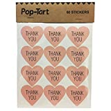 60 x Pink Thank You Heart Stickers