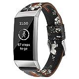 BZLine Für Fitbit Charge 3 Gesundheits und Fitness-Tracker, Luxus Leder Armband Strap für Fitbit Gebühr 3 Fitness Aktivität Tracker Smartwatch Sport Uhr Strap Band Kleine Große