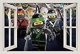 Unified Distribution Lego - Ninjago - Ninja Warriors - Wandtattoo mit 3D Effekt, Aufkleber für Wände und Türen Größe: 92x61 cm, Stil: Fenster