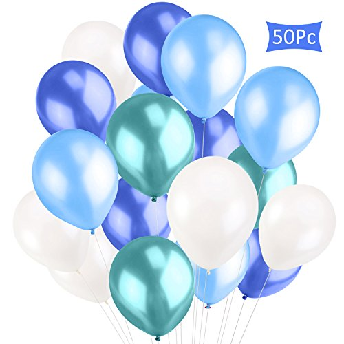 CXvwons Luftballons, Luftballon Hochzeit Ballon Partyballon Latexballons metallisch Glanz Bunte Ballons Spielzeug für Kindergeburtstag Hochzeits Geburtstagsfeier Party (Blau 50 Stück)
