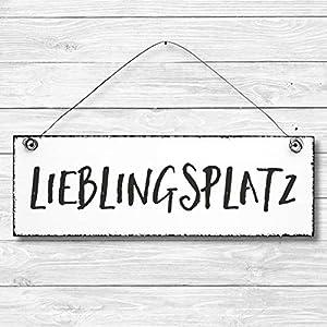 Lieblingsplatz - Dekoschild Türschild Wandschild aus Holz 10x30cm - Holzdeko Holzbild Deko Schild