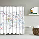 KAIDENG Bad Vorhang, London Subway Map Badezimmer wasserdicht Stoff Duschvorhang Set 12 Haken 71 Zoll