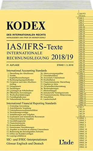 KODEX Internationale Rechnungslegung IAS/IFRS - Texte 2018/19 (Kodex des Internationalen Rechts)