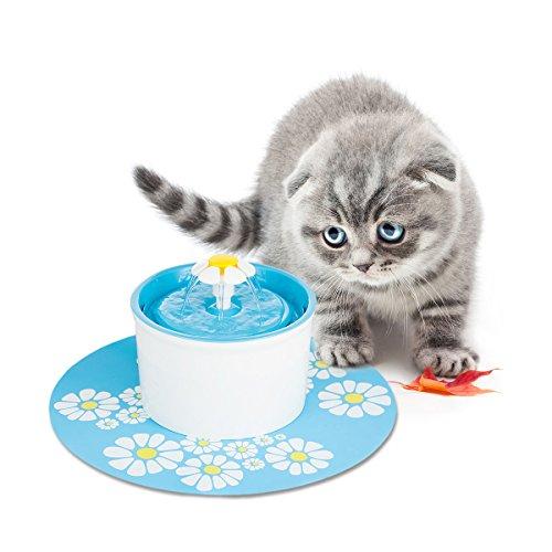 Fuente de agua para mascotas Dispensador de gato automático gato flor fuente 3 modos de flujo de agua con filtro de carbón y alfombra antideslizante para perro de mascota FDA / LFGB Aprobado EU Plug 1.6L (Con Estera)