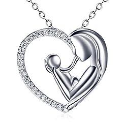 Idea Regalo - Silver Mountain L'amore della madre Cuore Collana Pendente con Catena 45cm