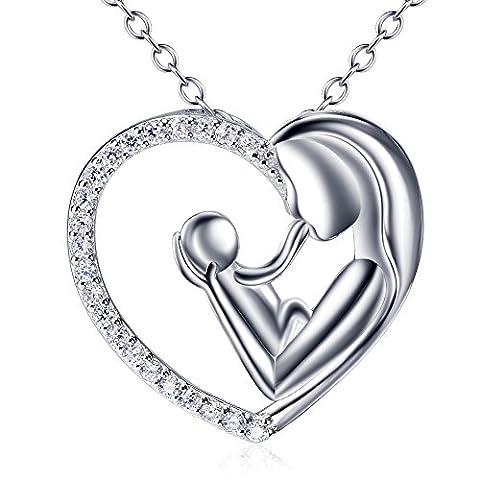 Mère et fille fils Argent sterling 925Collier pendentif pour femme