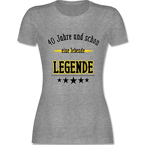 Geburtstag - 40. Geburtstag Legende Fun Geschenk - tailliertes Premium T-Shirt mit Rundhalsausschnitt für Damen Grau Meliert