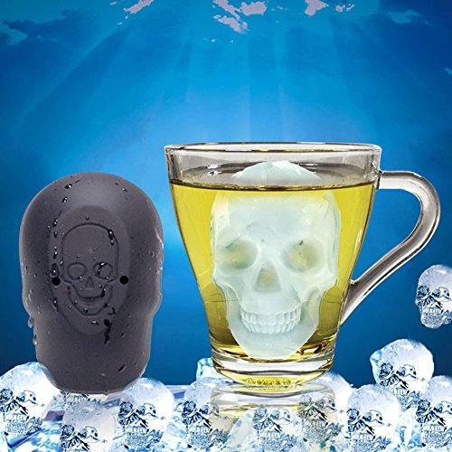 Huhuswwbin 3D-Eiswürfelform mit Totenkopf-Motiv, Schokolade, Süßigkeiten, Halloween, Küchenwerkzeug, Schwarz