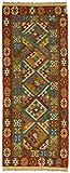 CarpetFine: Kelim Afghan Teppich 80x200 Braun,Grün - Geometrisch