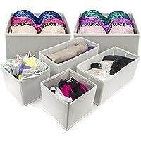 Sorbus® Foldable Storage Organizer per cassetti armadio Comodino contenitori per lingerie, reggiseni, calzini, cravatte, sciarpe, accessori e molto altro ancora-Set di 6 pezzi Bianco
